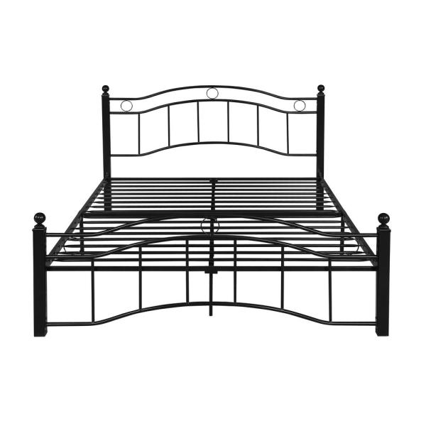 Noble House Bouvardia Contemporary Modern Queen-Size Flat Black Iron Bed Frame