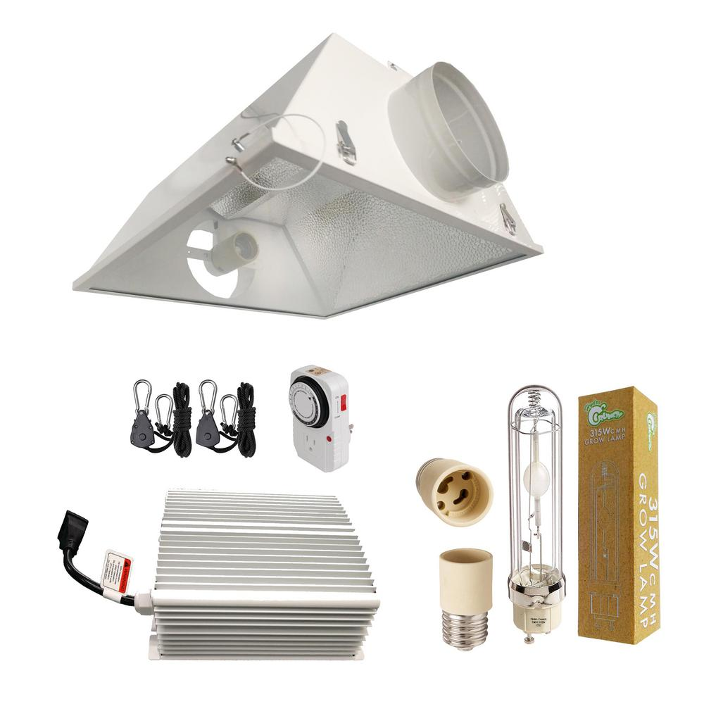 Hydro Crunch 315-Watt CMH Ceramic Metal Halide Grow Light System with 6 in   Large Air Cooled Reflector