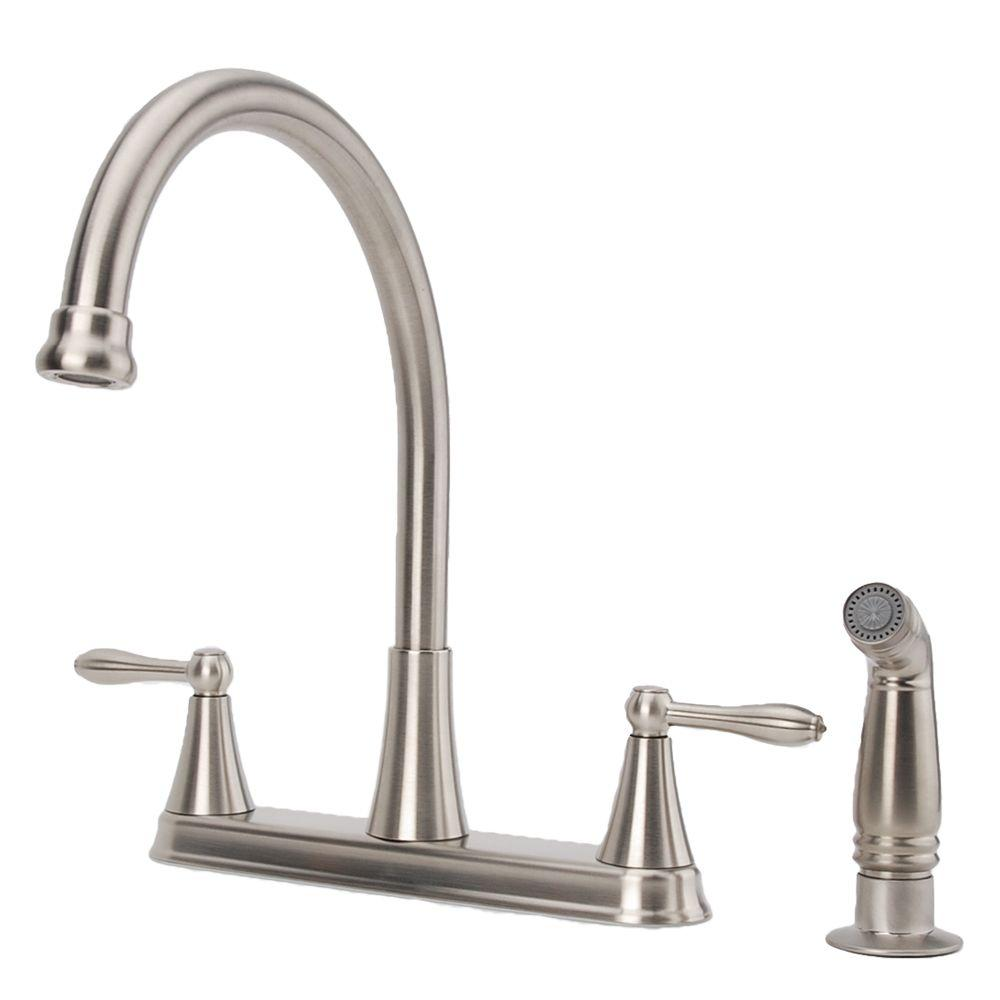 Fontaine 2-Handle High-Arc Standard Kitchen Faucet with Side Sprayer in Brushed Nickel