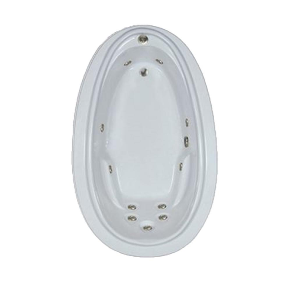 Comfortflo Premier 72 in. Acrylic Oval Drop-in Whirlpool Bath Bathtub in White