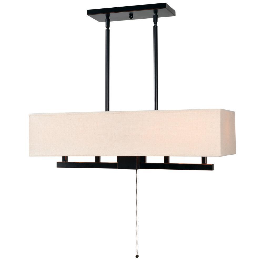 Kenroy Home Lighting Keen Bronze Pendant Light With Drum: Kenroy Home Corbis 4-Light Bronze Island Light-93595ORB