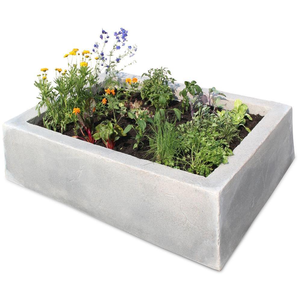 62 in. L x 46 in. W x 16 in. H Large Rectangular Plastic Raised Garden Box in Gray/Black