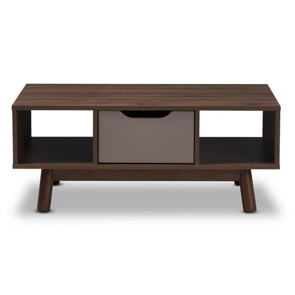 Baxton Studio Britta Brown and Grey Coffee Table 28862-7990-HD