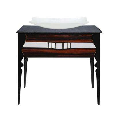 Natasha 37 in. Birch Vanity in Ebony Black Gloss with Terrazzo Vanity Top with White Basin