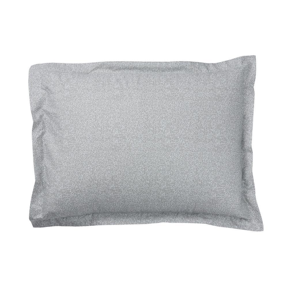 LoftHome Maze Gray Geometric Organic Cotton Percale King Sham