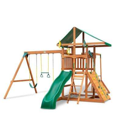 Installed Outing III Wooden Playset with Monkey Bars, Rock Wall and Wave Slide