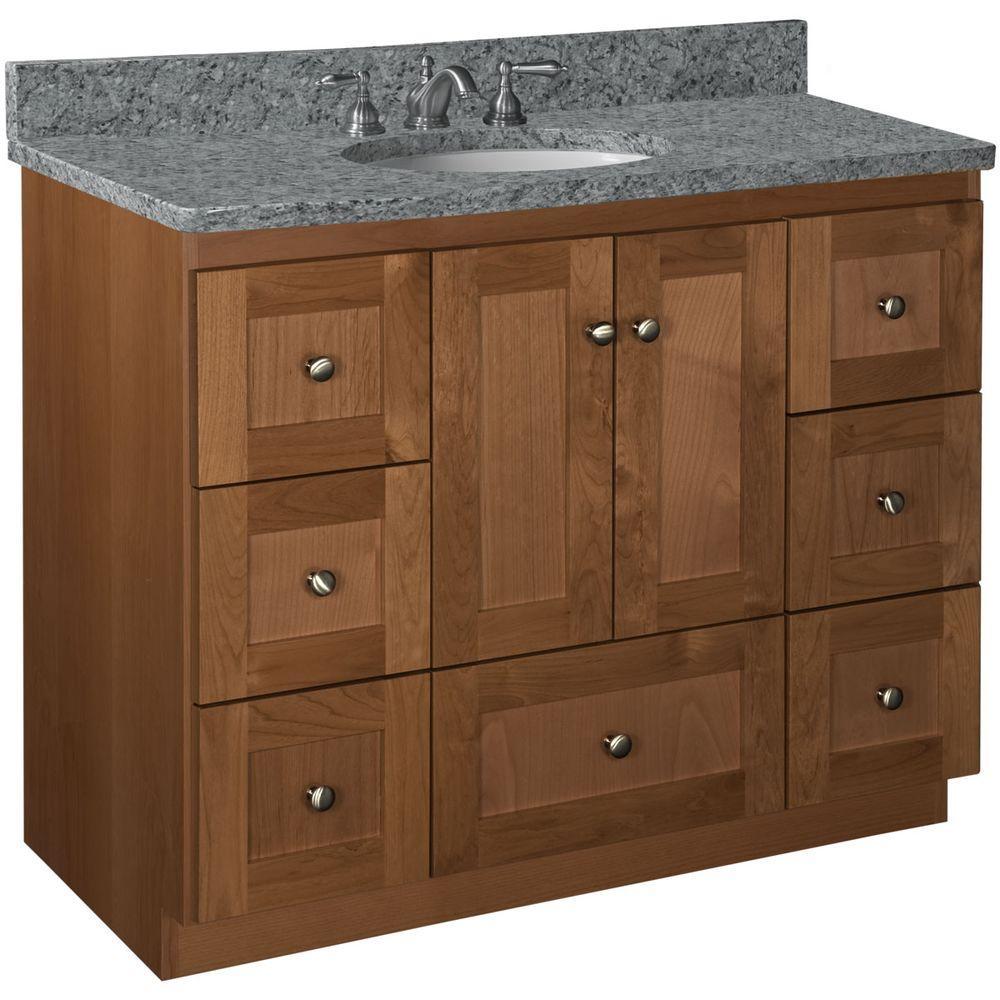 Shaker 42 in. W x 21 in. D x 34.5 in. H Vanity Cabinet Only in Medium Alder