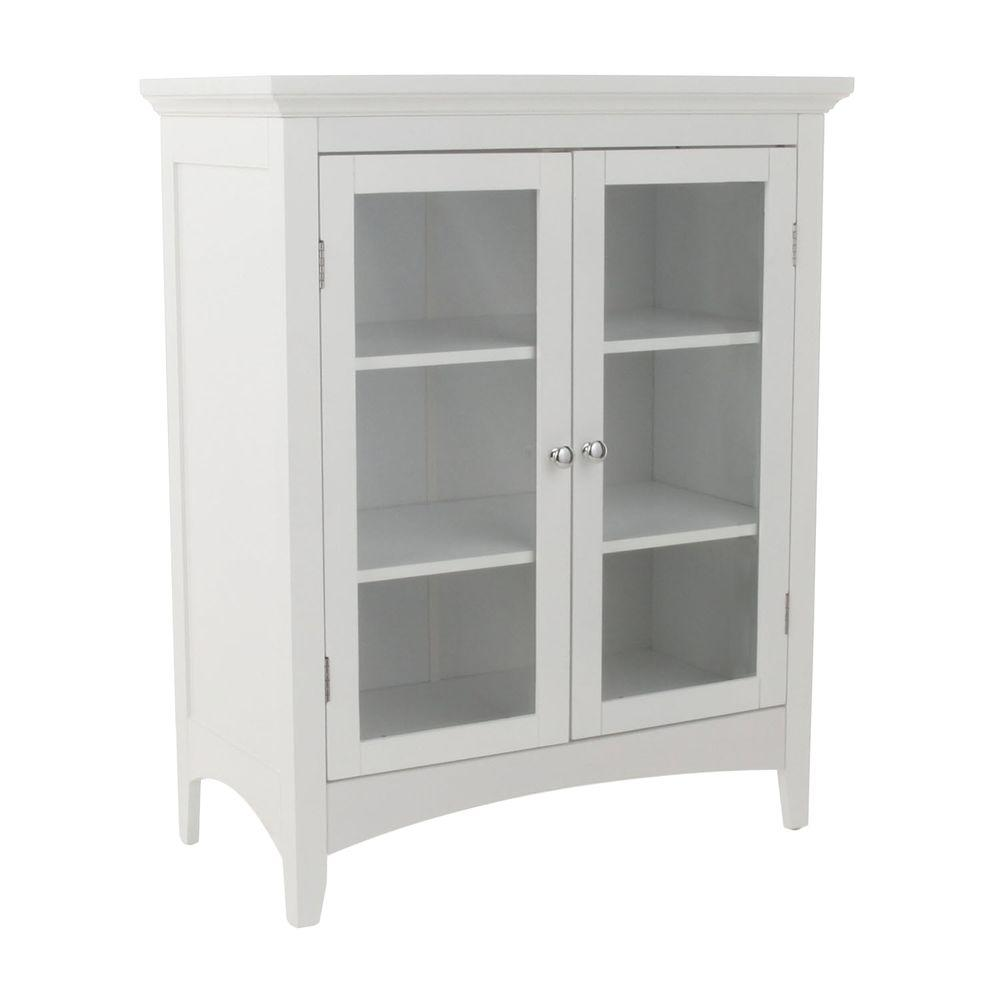 Superb Elegant Home Fashions Wilshire 26 In W X 32 In H X 13 In D 2 Door Bathroom Linen Storage Floor Cabinet In White Home Interior And Landscaping Mentranervesignezvosmurscom