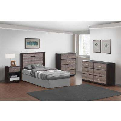 Colebrook 6-Drawer Espresso and Rustic Medium Oak Dresser