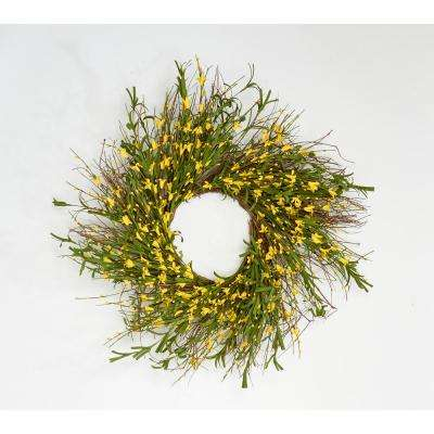 24 in. Forsythia And Pip Wreath on Twig Base