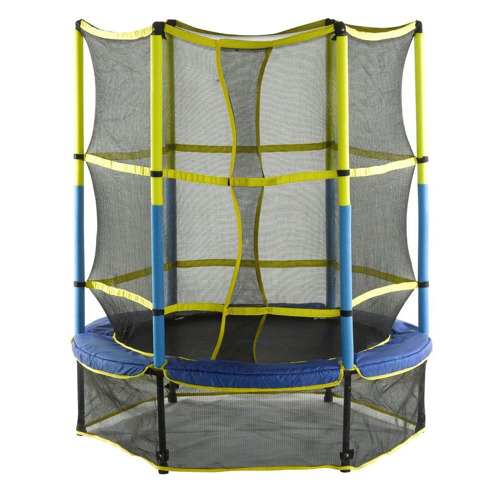 55 in. Kid-Friendly Trampoline and Enclosure Set Equipped with Easy Assemble