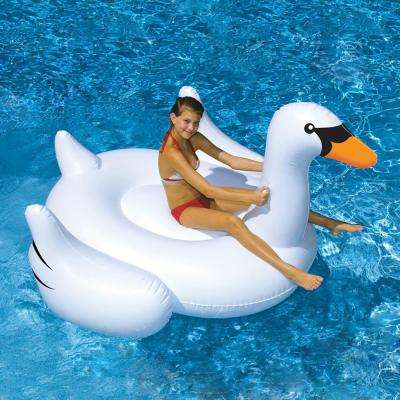 Giant Swan 75 in. Inflatable Ride-On Pool Toy