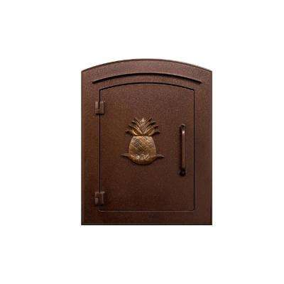 Manchester Antique Copper Column Mount Non-Locking Mailbox with Decorative Pineapple Logo