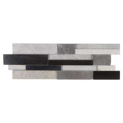 Cliffstone Black Gray Ledger Panel 7.87 in. x 23.62 in. 10mm Brushed Granite Mosaic Tile (1.29 sq. ft.)