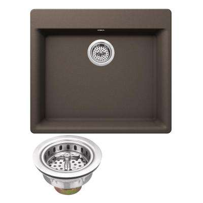 Drop-In Granite Composite 23.62 in. 4-Hole Single Bowl Kitchen Sink in Mocha Brown