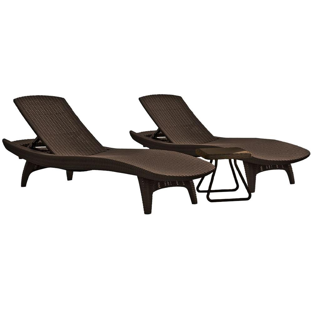 Pacific Whiskey Brown All Weather Adjule Resin Patio Chaise Lounger With Side Table 3 Piece Set