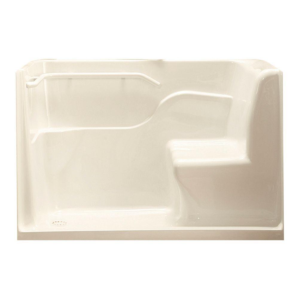 5 ft. Left Drain Seated Shower in Linen