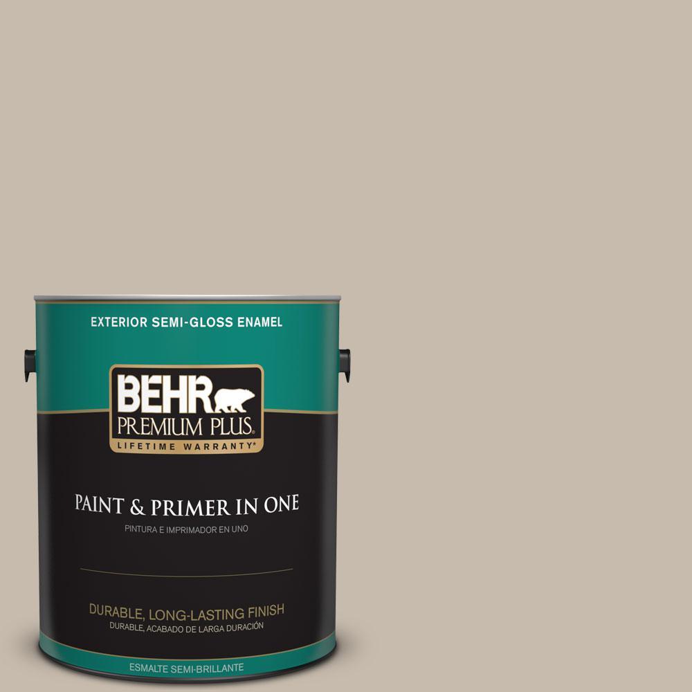 BEHR Premium Plus 1-gal. #ECC-44-1 Barley Field Semi-Gloss Enamel Exterior Paint
