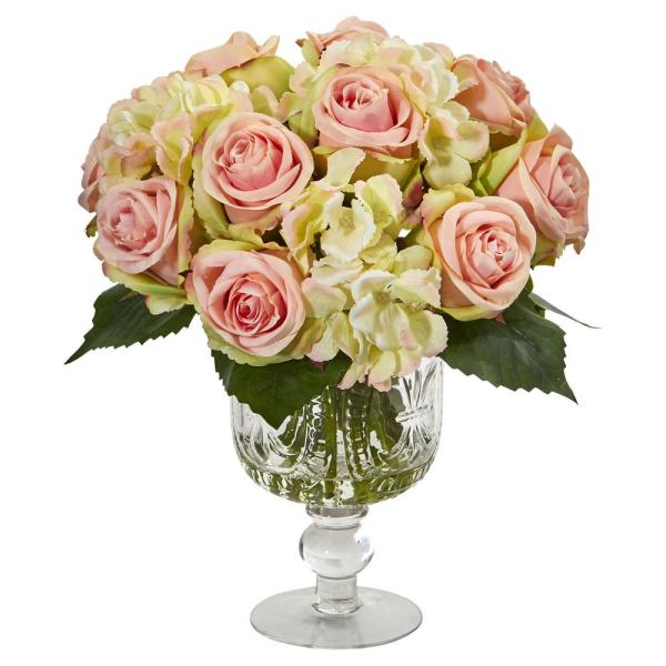 Nearly Natural Indoor Rose and Hydrangea Artificial Arrangement in Royal Glass