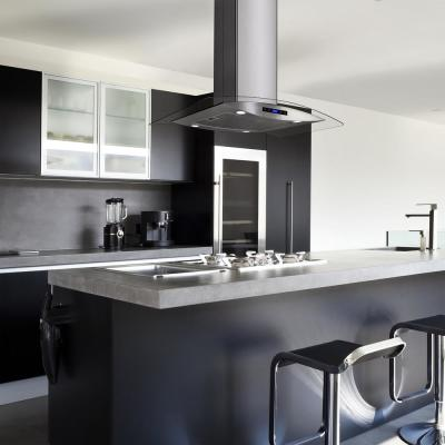 36 in. Kitchen Island Mount Range Hood in Stainless Steel with Tempered Glass, LEDs, Touch Control and Carbon Filters
