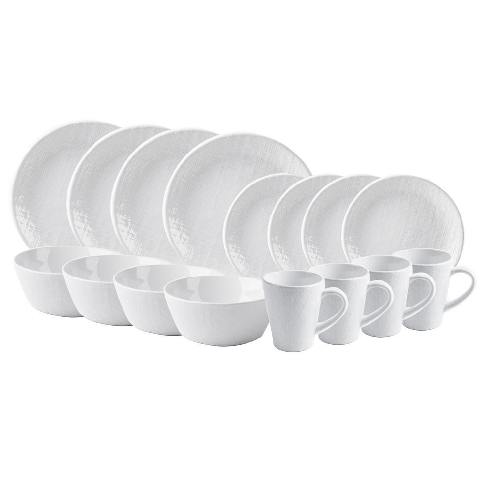 16-Piece White Burlap Dishwasher Safe Dinnerware Set