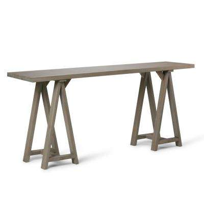 Spokane Solid Wood 66 inch Wide Modern Industrial Wide Console Sofa Table in Distressed Grey
