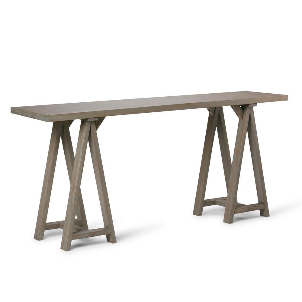 Simpli Home Sawhorse Distressed Grey Console Table
