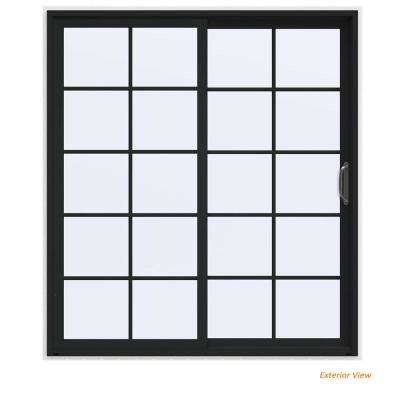 72 in. x 80 in. V-4500 Contemporary Bronze Painted Vinyl Right-Hand 10 Lite Sliding Patio Door w/White Interior