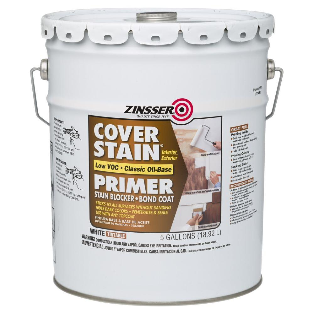 Zinsser 5 Gal 100 Voc Cover Stain Oil Base Interior Exterior Classic 271450 The Home Depot
