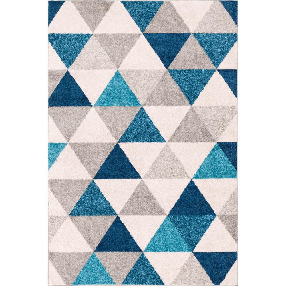 Well woven mystic alvin blue 5 ft x 7 ft modern for Geometric print area rugs