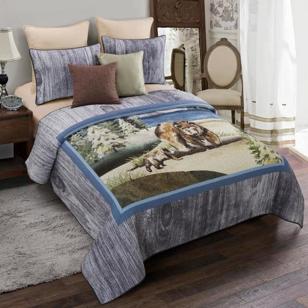 Montana Morning Grey Cotton Queen Quilt Set (3-Piece)