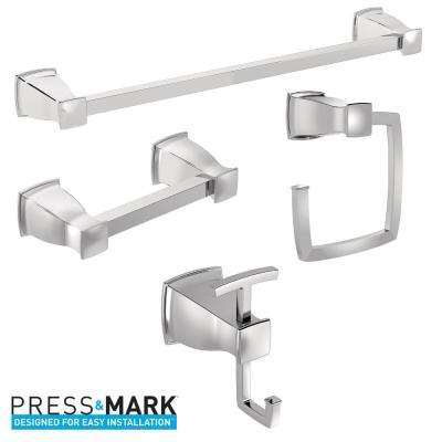 Hensley Press and Mark 4-Piece Bath Hardware Set with Towel Bar, Towel Ring, Paper Holder and Robe Hook in Chrome