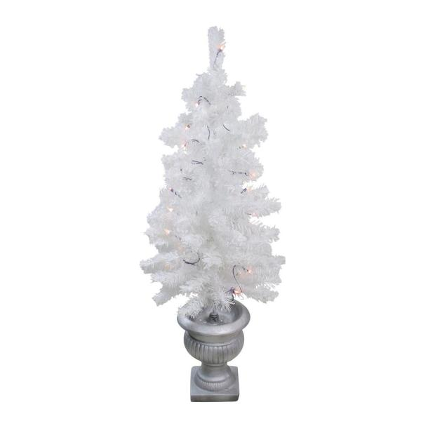42 in. Pre-Lit Potted Flocked White Pine Artificial Christmas Tree with Clear Lights