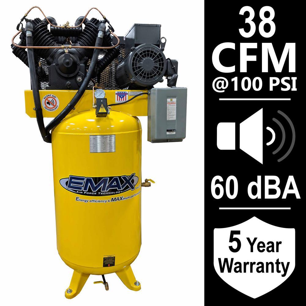 Industrial Series 80 Gal. 10 HP 1-Phase Silent Air Electric Air Compressor