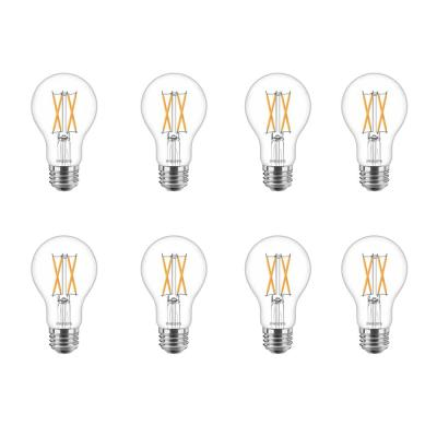 60-Watt Equivalent A19 Dimmable with Warm Glow Dimming Effect Clear Glass LED Light Bulb Soft White (2700K) (8-Pack)