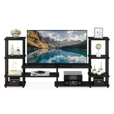 Turn-N-Tube 78 in. Espresso Particle Board Entertainment Center Fits TVs Up to 50 in. with Open Storage