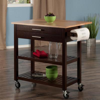 Langdon Cappuccino Kitchen Cart with Natural Wood Top
