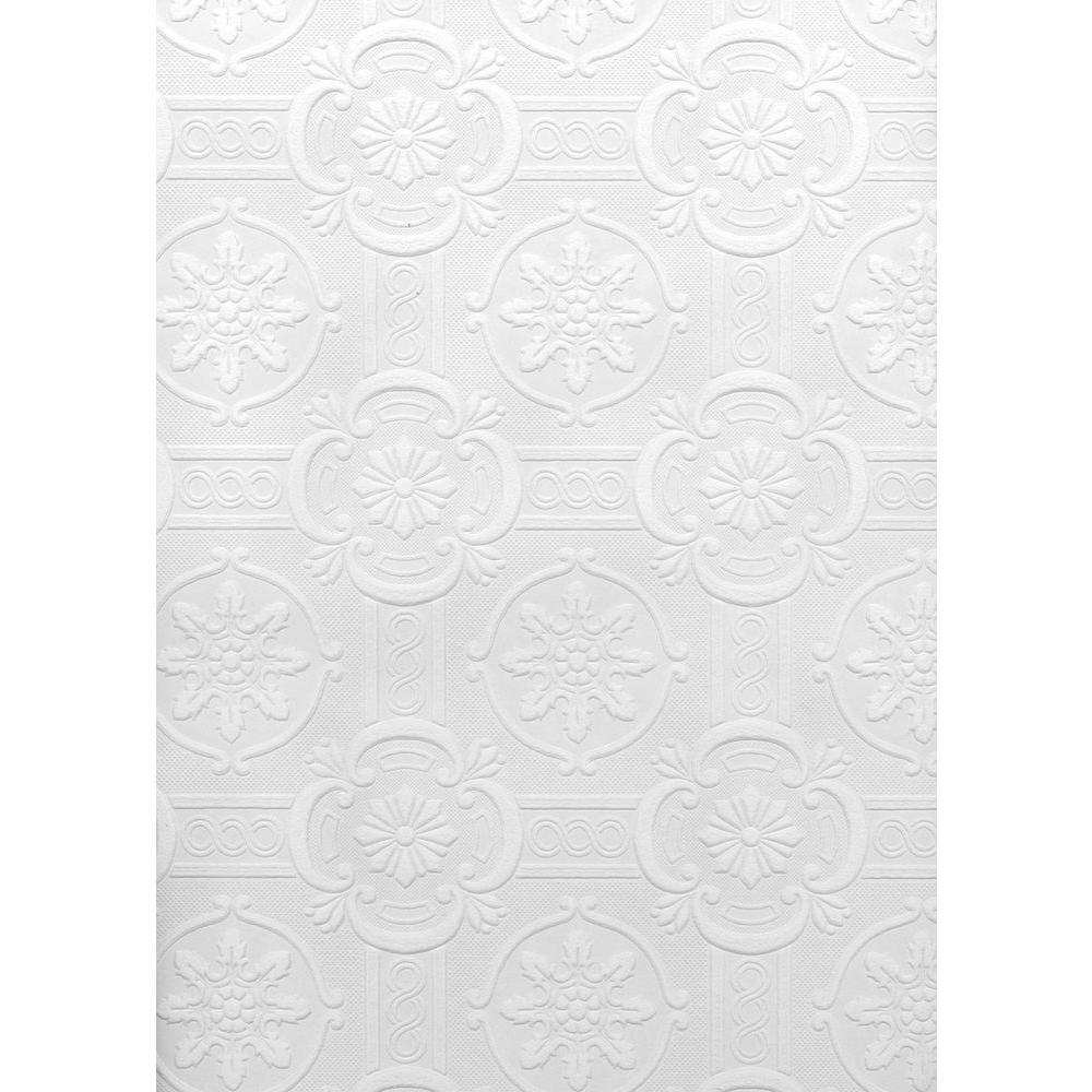 Brewster Paintable Reuben Ornate Tiles Wallpaper Sample, White U0026 Off White