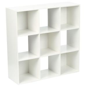 36 in. x 36 in. White Stackable 9-Cube Organizer