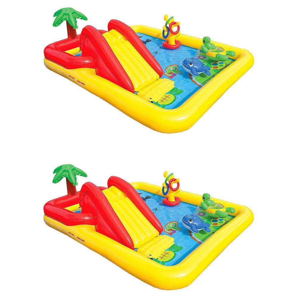 Intex Rectangle 77 in. x 31 in. Deep Inflatable Ocean Play Center Kids Backyard Swimming Pool Plus Games (2-Pack)