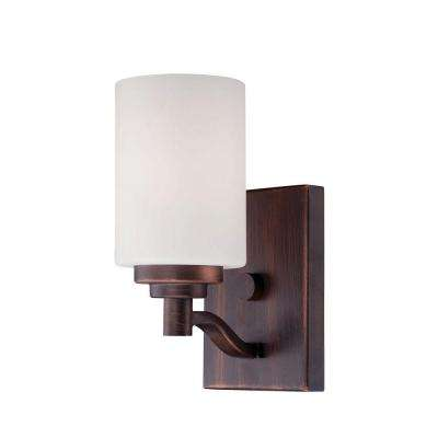 1-Light Rubbed Bronze Sconce with Etched White Glass