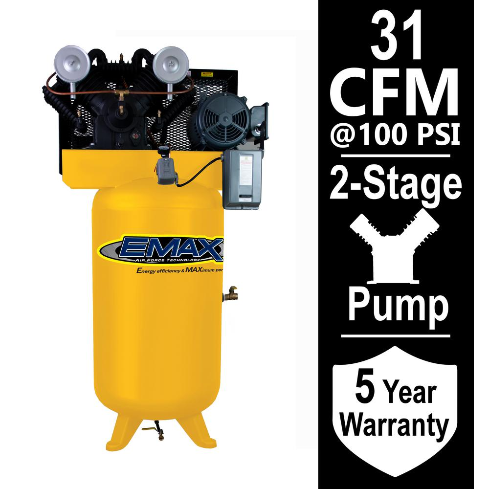 EMAX Industrial Series 80 Gal. 7.5 HP 1-Phase Electric Air Compressor with pressure lubricated pump