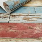 Brewster Red Scrap Wood Weathered Wallpaper