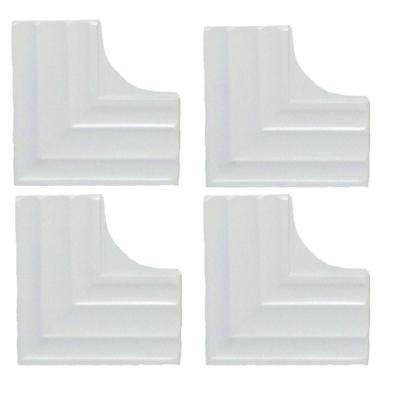 Dove White Contemporary Corner Plates (4-Pack)