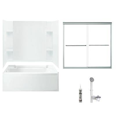 Accord 32 in. x 60 in. x 73.25 in. Bath and Shower Kit with Left-Hand Drain in White and Chrome
