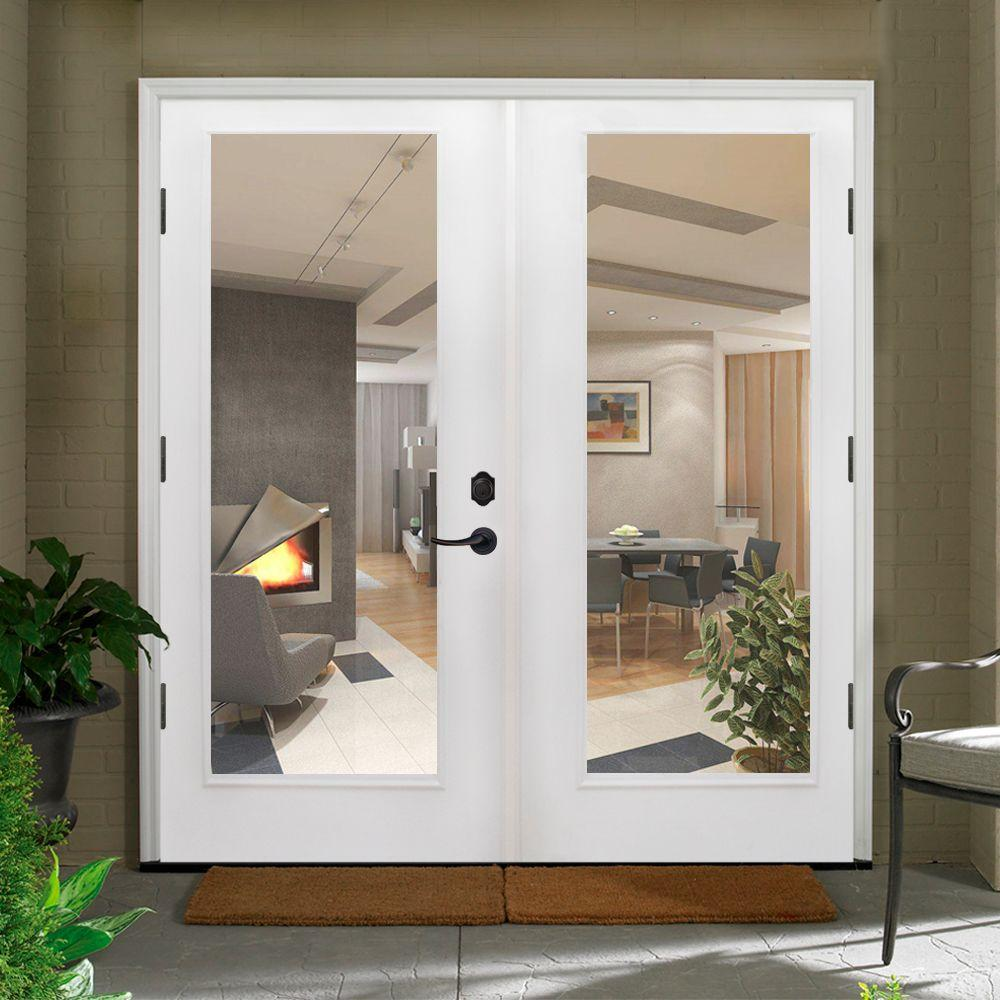 Steves Sons 48 In X 80 Primed White Fibergl Prehung Right Hand Outswing Full Lite Patio Door