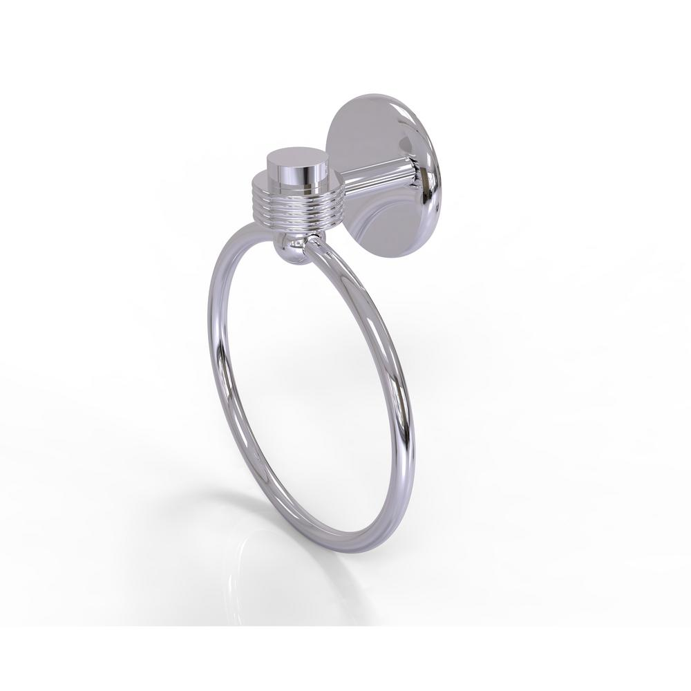 Satellite Orbit One Collection Towel Ring with Groovy Accent in Polished
