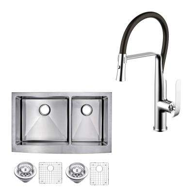 All-in-One Apron Front Stainless Steel 36 in. 60/40 Double Bowl Kitchen Sink with Faucet in Chrome Sink Kit
