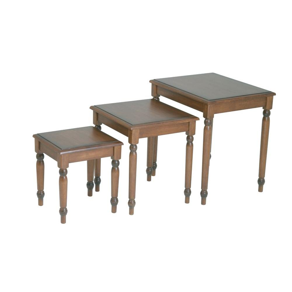 OSPdesigns Knob Hill Antique Cherry 3 Piece Nesting End Table