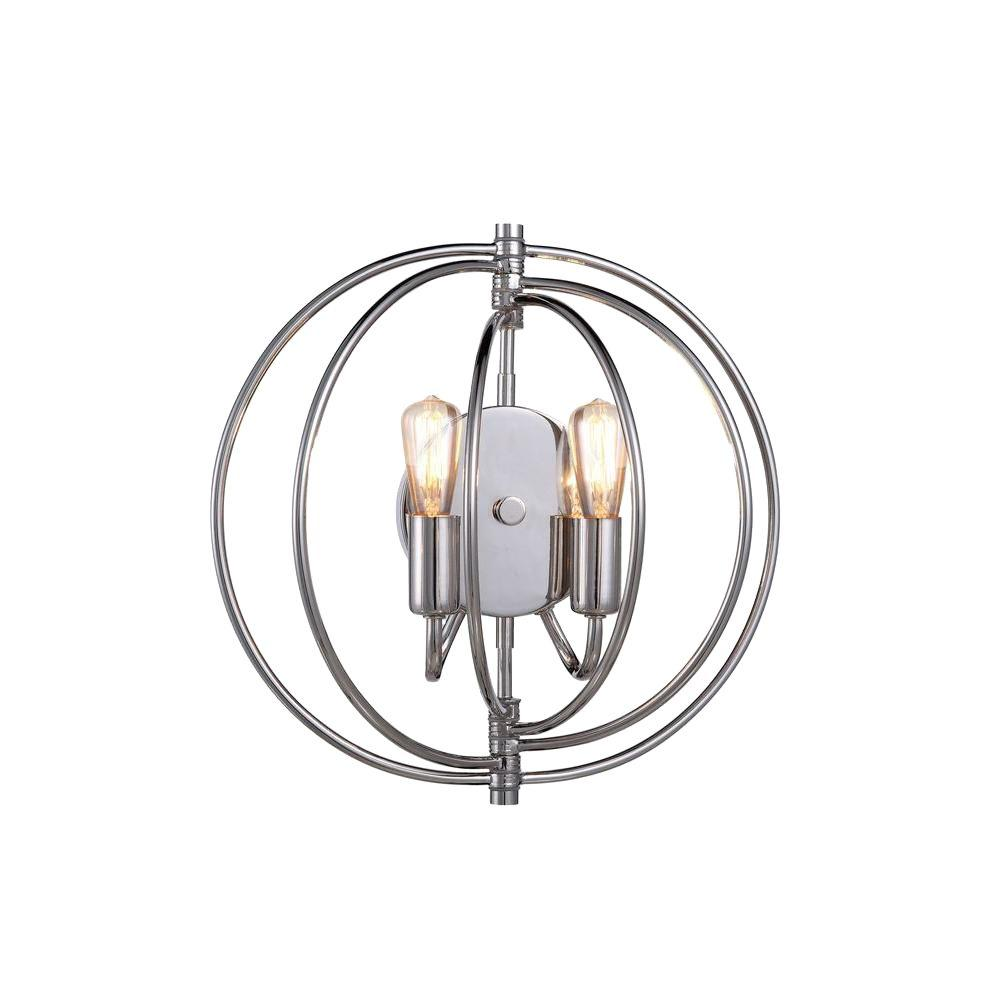 Vienna 2-Light Polished Nickel Wall Sconce